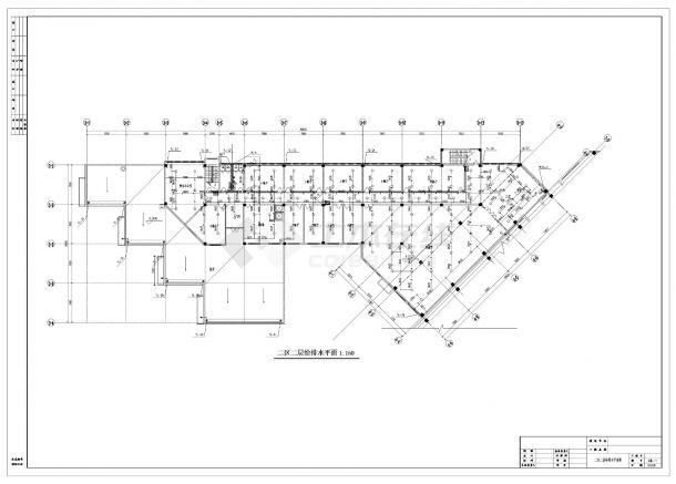 某人力中心办公楼给排水施工CAD图纸-图二
