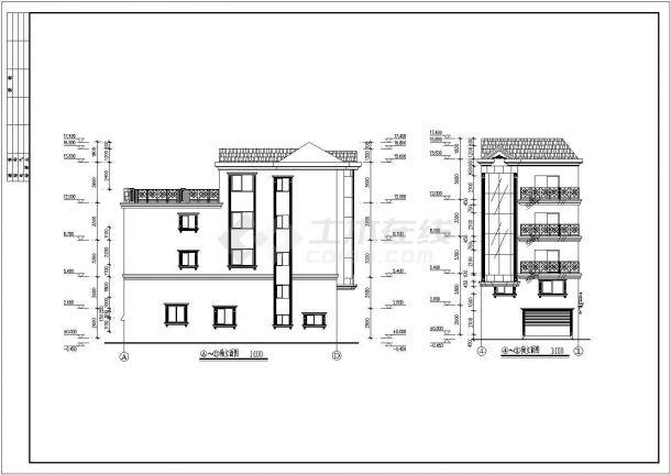 某地小型住宅楼建筑施工cad图纸-图二
