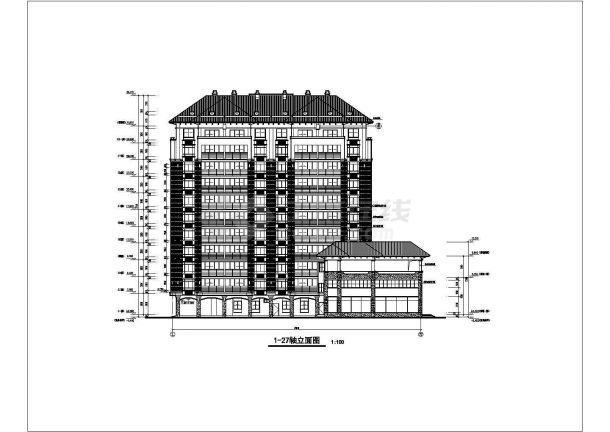 某地沿街住宅楼建筑施工图纸-图二