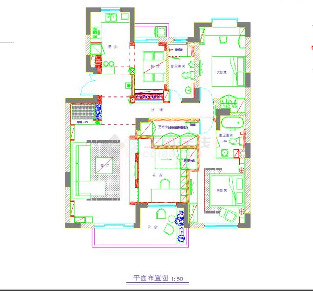 某地单层现代风格四室二厅装修建筑设计cad图纸(含实景)-图一