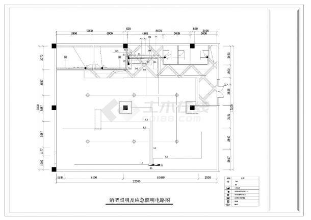 某酒吧电气照明施工CAD图纸-图一