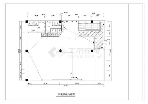 某酒吧电气照明施工CAD图纸-图二