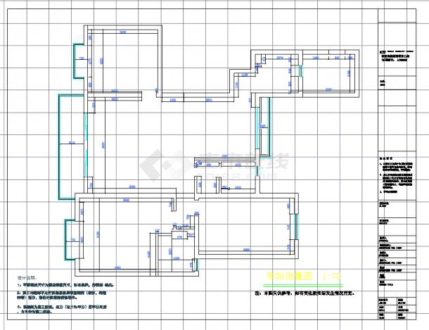 某地单层现代三室两厅建筑设计cad图纸含实景-图一