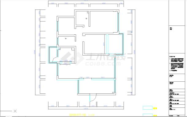 某地单层现代四居室建筑设计cad图纸含实景-图一