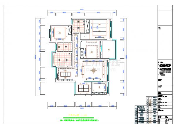 某地单层现代四居室建筑设计cad图纸含实景-图二