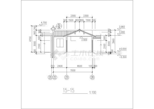 某仿古建筑施工设计CAD图纸-图一