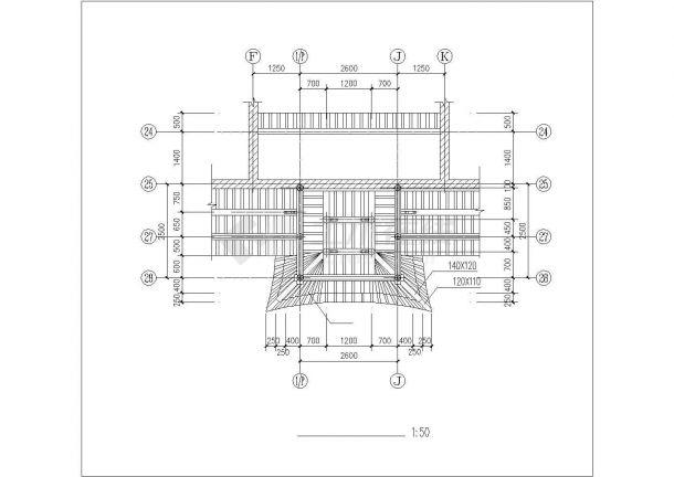 某仿古建筑施工设计CAD图纸-图二