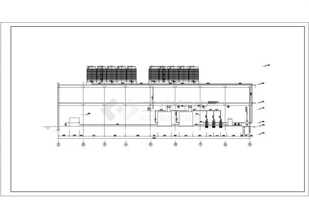 某地区某工程溴化锂机组机房设计参考CAD图-图一
