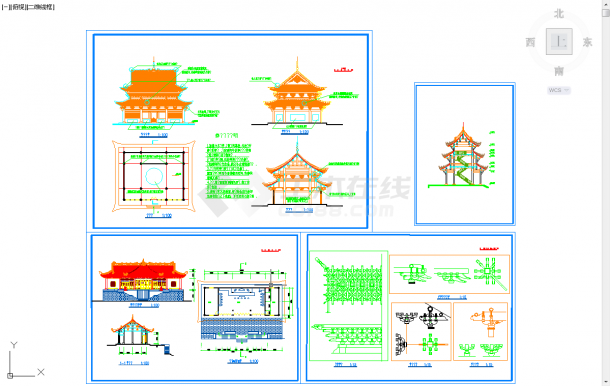 五套古建筑常用cad设计施工图纸-图一