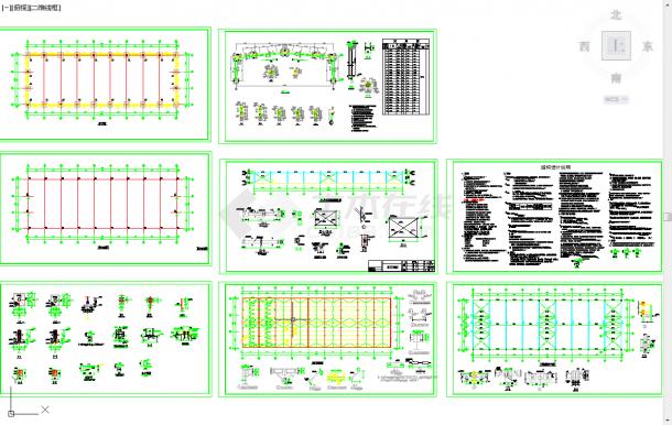 五套钢结构厂房cad结构施工图纸-图二