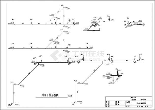 某小型商业建筑散热器采暖系统设计cad全套施工图(含给排水系统设计)-图一