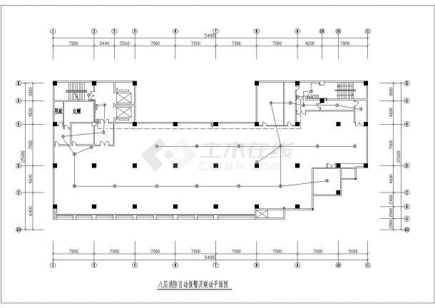 八层消防自动报警及联动平面图设计-图一
