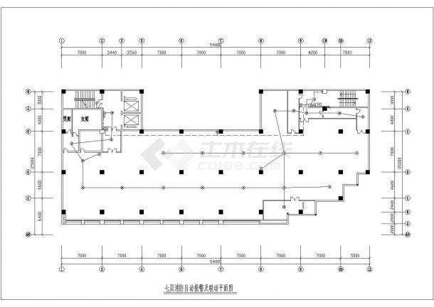 八层消防自动报警及联动平面图设计-图二
