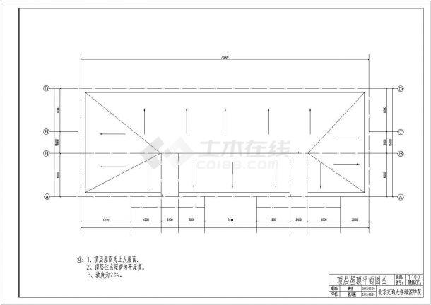 沧州市某商业街4620平米6层钢混框架结构商住楼建筑+结构设计CAD图纸-图一