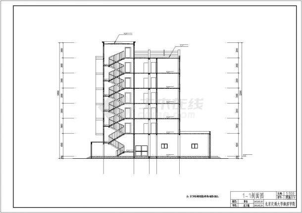 沧州市某商业街4620平米6层钢混框架结构商住楼建筑+结构设计CAD图纸-图二
