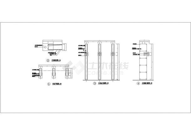 景观灯柱三面设计图-图一