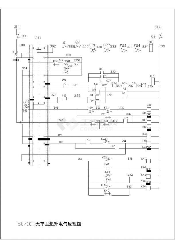 设备控制器_50-10T天车主起升电气原理图-图一