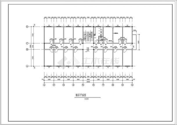 职工宿舍楼设计图(含平立剖 节点 门窗表)-图一