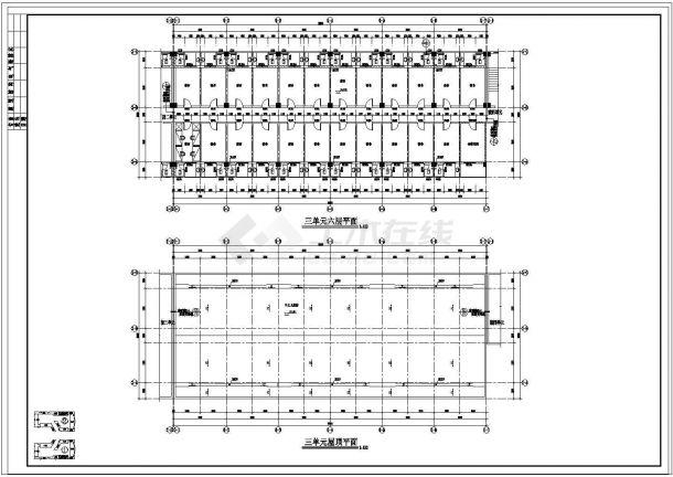 宿舍楼平面技术图纸-图一