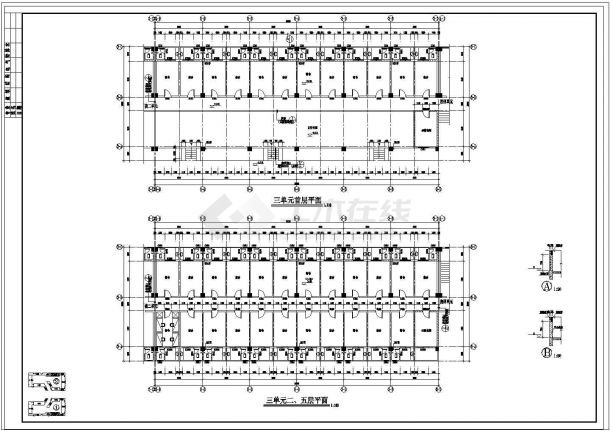 宿舍楼平面技术图纸-图二