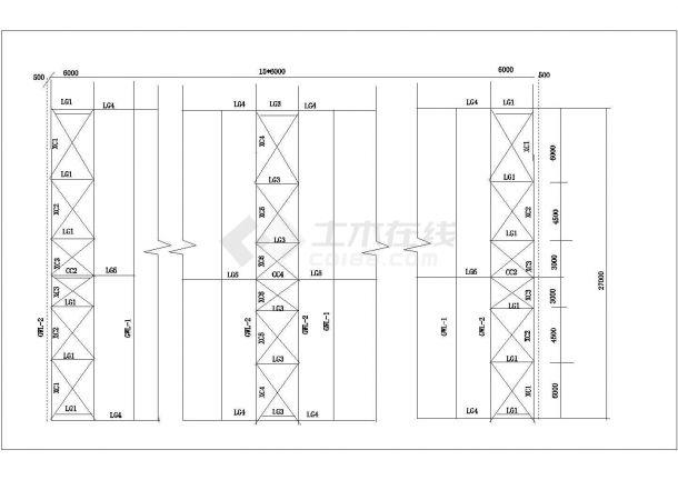 某地方钢结构课程设计施工cad图-图一