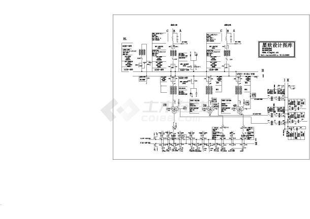220KV变电站一次结线图cad设计图-图二