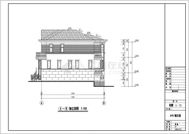 某城市金华别墅区住宅楼工程全套设计CAD图(含效果图)-图二