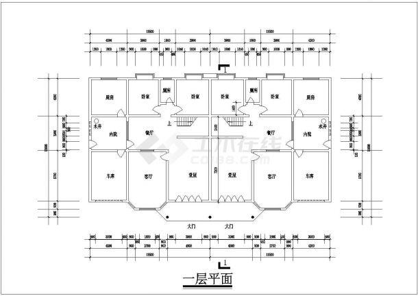 某一线城市连体别墅豪华小区住宅楼全套设计CAD图(含效果图)-图二