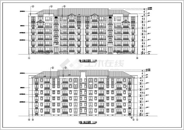 住宅设计_某六层住宅小区建筑施工CAD图-图一