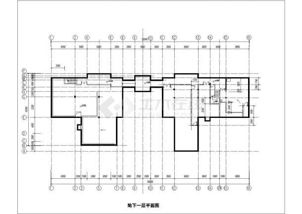 北京市某高档商务大酒店内部单层砖混结构健身房建筑设计CAD图纸-图一