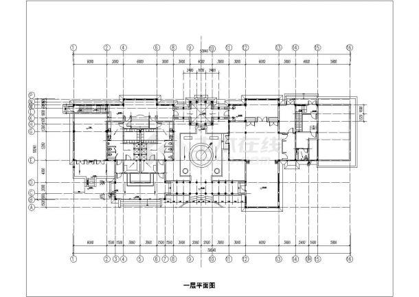 北京市某高档商务大酒店内部单层砖混结构健身房建筑设计CAD图纸-图二