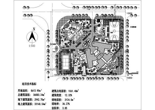 某多层住宅小区景观绿化规划设计cad总平面施工图(含经济技术指标)-图一