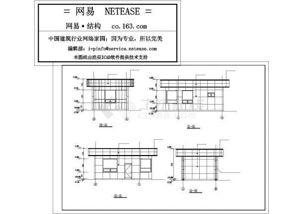 昆山市某大型医药工厂单层砖混结构门卫室全套结构设计CAD图纸-图二