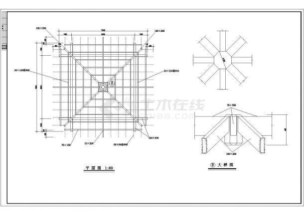 某园林建筑小品中式古典风格木结构亭设计cad全套施工详图-图二
