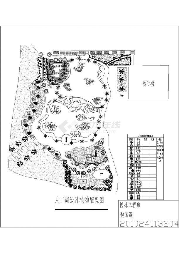某校园人工湖CAD景观设计施工方案-图二