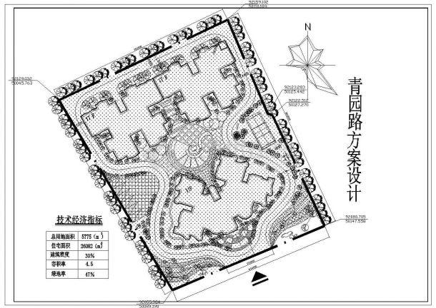 青园路景观绿化规划设计cad总平面施工图(含技术经济指标)-图一