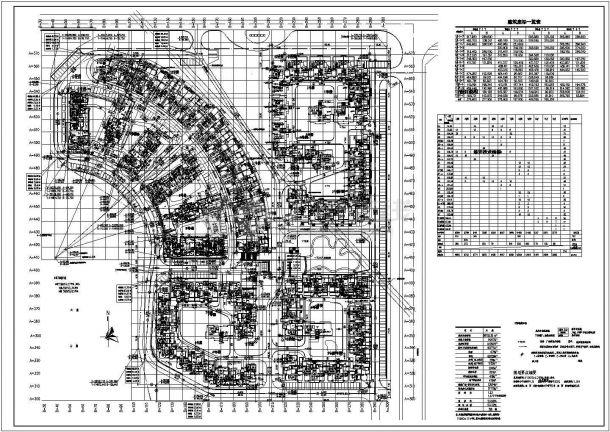 某大型高档小高层住宅小区景观规划设计cad总平面施工图(含经济技术指标)-图一