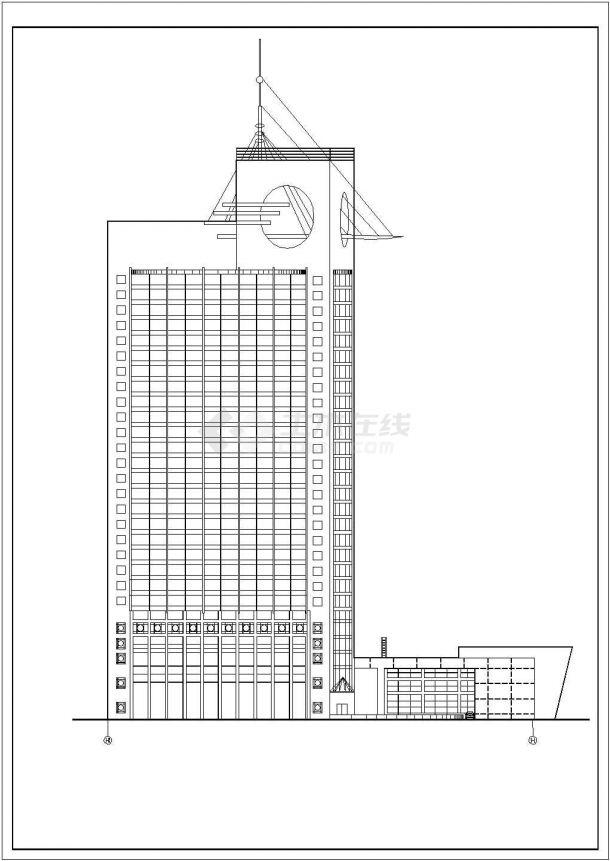 某地高层宾馆建筑设计方案CAD图(共10张)-图二