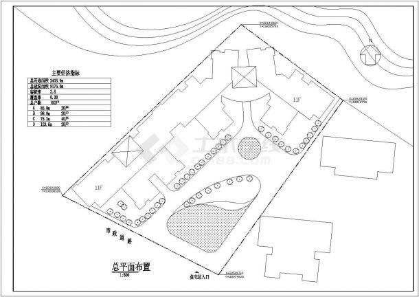 某武警住宅楼小区规划设计cad总平面布置图(含经济技术指标,含单体建筑设计)-图一