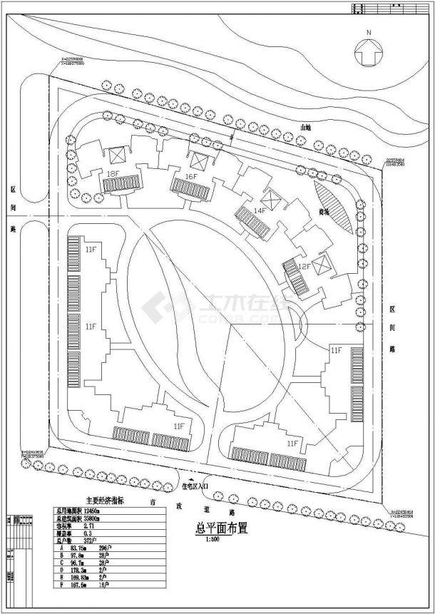 某武警住宅楼小区规划设计cad总平面布置图(含经济技术指标,含单体建筑设计)-图二