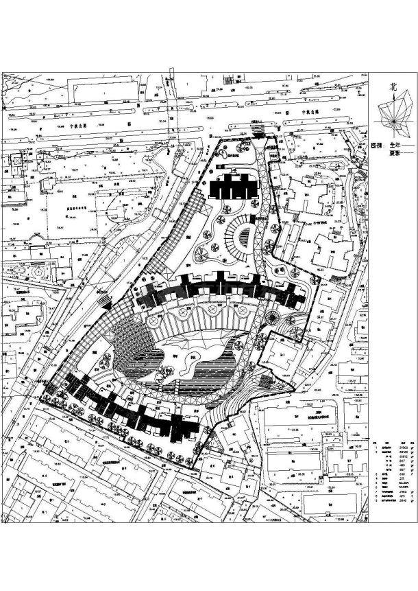 某高档多层住宅小区景观绿化规划设计cad总平面施工图(含经济技术指标)-图一