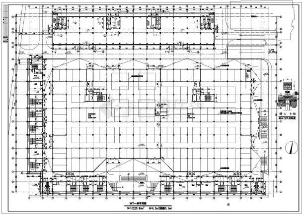 某经济开发区地下商场及宾馆建筑设计全套方案CAD图纸-图二