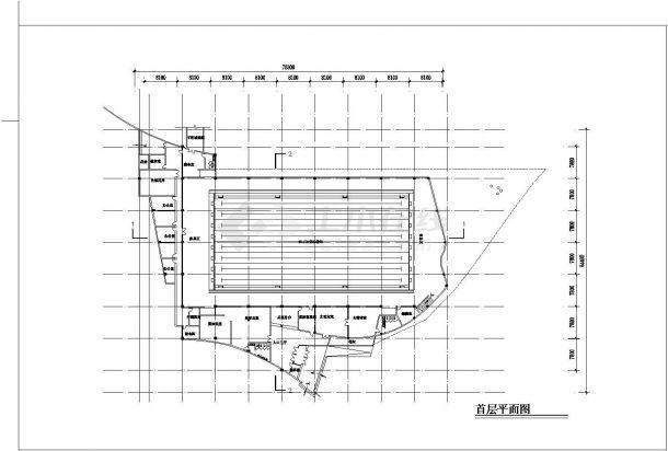2层游泳馆建筑方案CAD设计图-图二