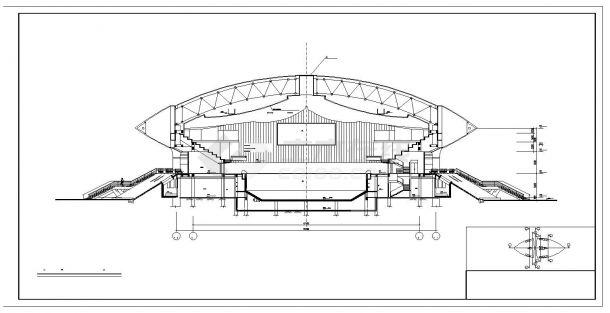 某地区体育馆中心游泳馆跳水馆全套建筑CAD设计图-图二