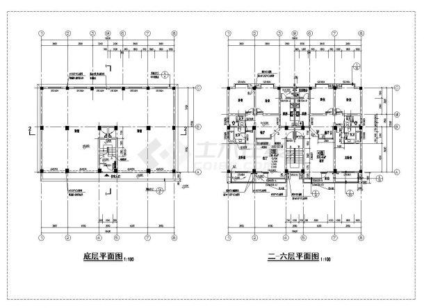丹巴县某高层框架商住宅楼施工图CAD详图-图一
