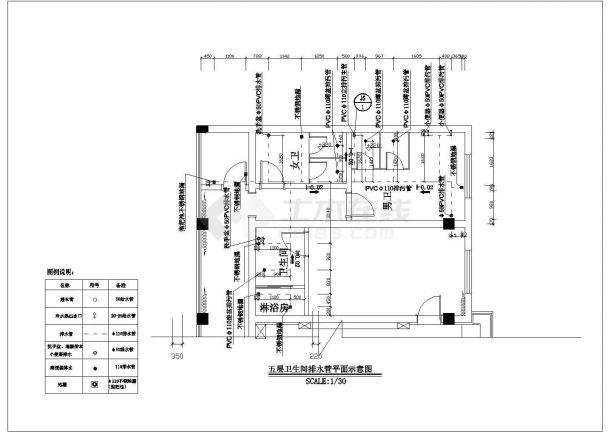 某地高层办公楼给排水系统全套CAD平面图纸-图一