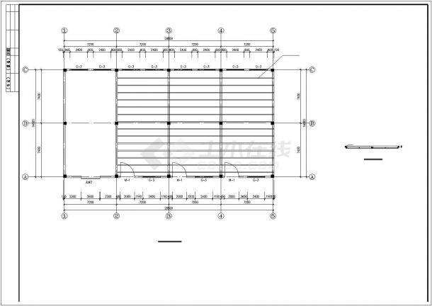 杭州市某木材厂单层砖混结构小型加工厂房全套建筑设计CAD图纸-图二
