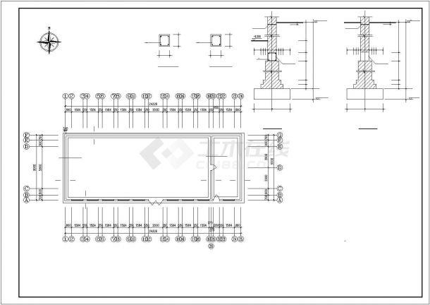呼伦贝尔市某大型畜牧场单层砖混结构牛舍全套建筑设计CAD图纸-图一