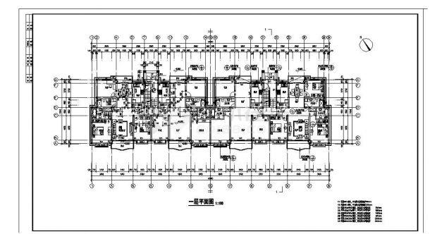 某城市阁楼层住宅楼结构布置CAD设计图-图二