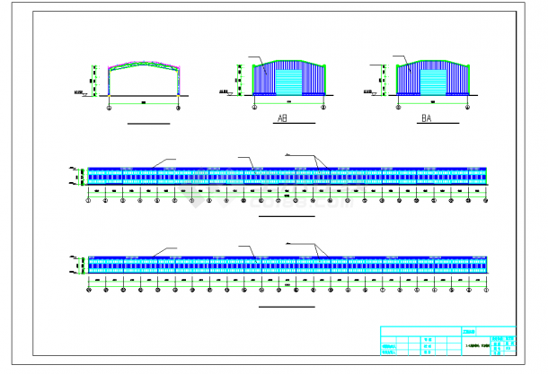 某地钢结构温室蔬菜大棚施工CAD图纸-图一